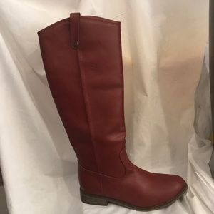 Brick red riding boots!